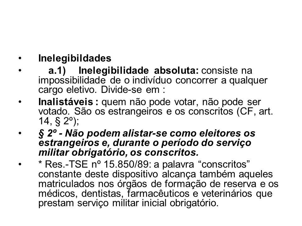 Inelegibildades a.1) Inelegibilidade absoluta: consiste na impossibilidade de o indivíduo concorrer a qualquer cargo eletivo. Divide-se em :