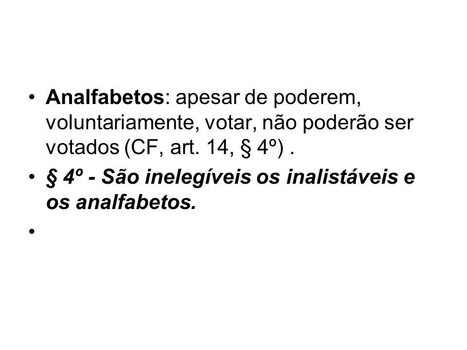 Analfabetos: apesar de poderem, voluntariamente, votar, não poderão ser votados (CF, art. 14, § 4º) .