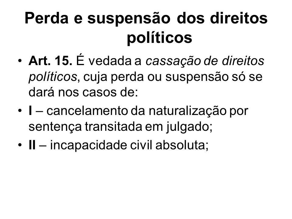 Perda e suspensão dos direitos políticos