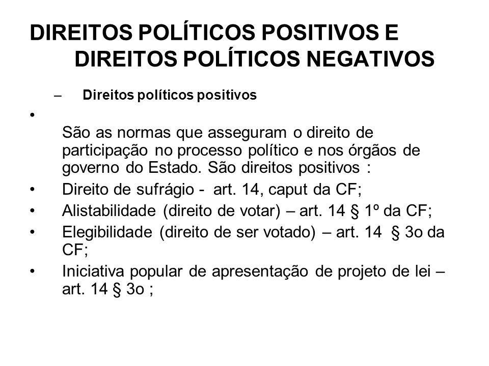 DIREITOS POLÍTICOS POSITIVOS E DIREITOS POLÍTICOS NEGATIVOS