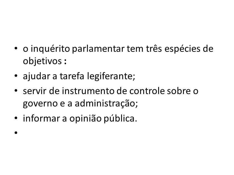o inquérito parlamentar tem três espécies de objetivos :
