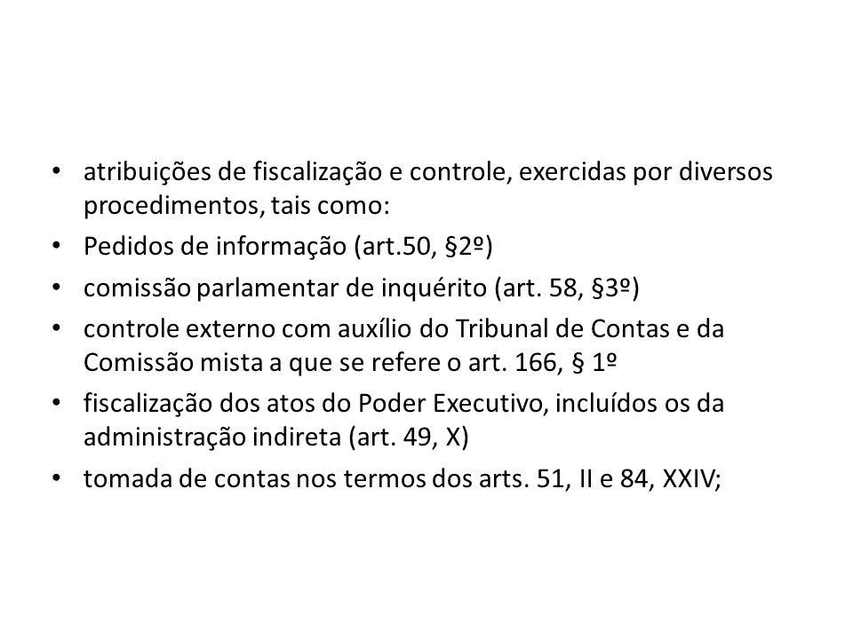 atribuições de fiscalização e controle, exercidas por diversos procedimentos, tais como: