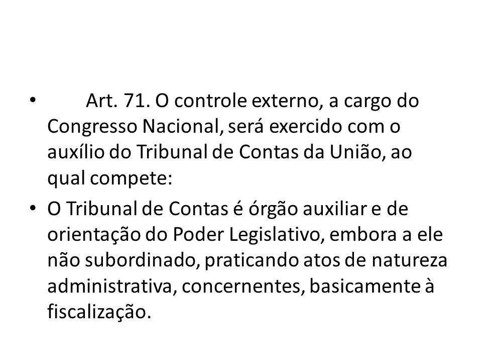 Art. 71. O controle externo, a cargo do Congresso Nacional, será exercido com o auxílio do Tribunal de Contas da União, ao qual compete: