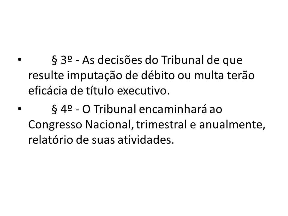 § 3º - As decisões do Tribunal de que resulte imputação de débito ou multa terão eficácia de título executivo.