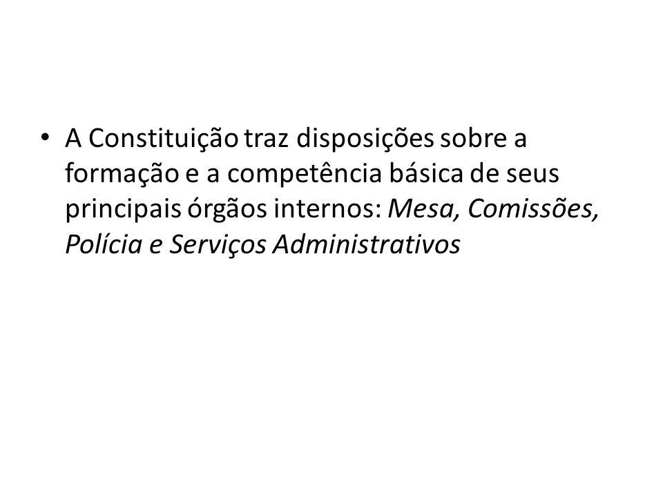 A Constituição traz disposições sobre a formação e a competência básica de seus principais órgãos internos: Mesa, Comissões, Polícia e Serviços Administrativos
