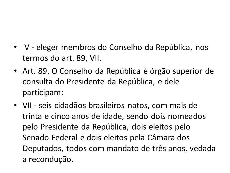 V - eleger membros do Conselho da República, nos termos do art. 89, VII.
