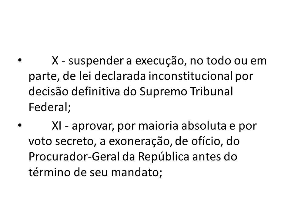 X - suspender a execução, no todo ou em parte, de lei declarada inconstitucional por decisão definitiva do Supremo Tribunal Federal;