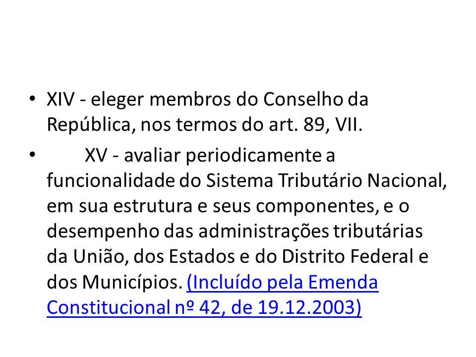 XIV - eleger membros do Conselho da República, nos termos do art