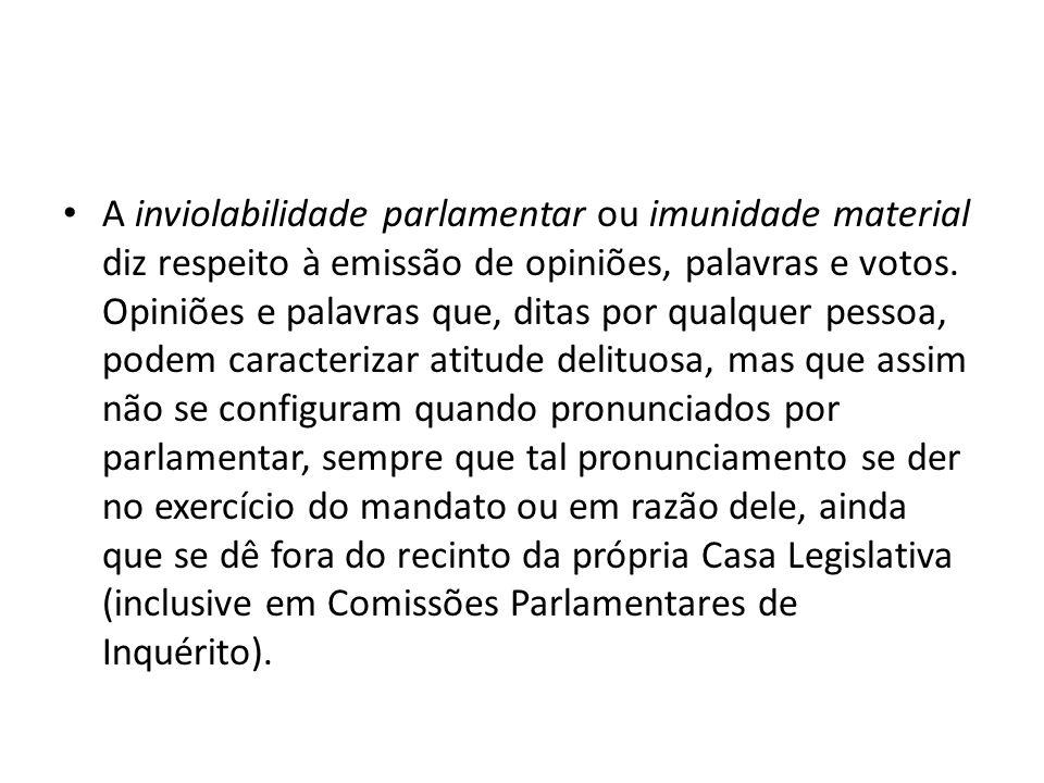 A inviolabilidade parlamentar ou imunidade material diz respeito à emissão de opiniões, palavras e votos.
