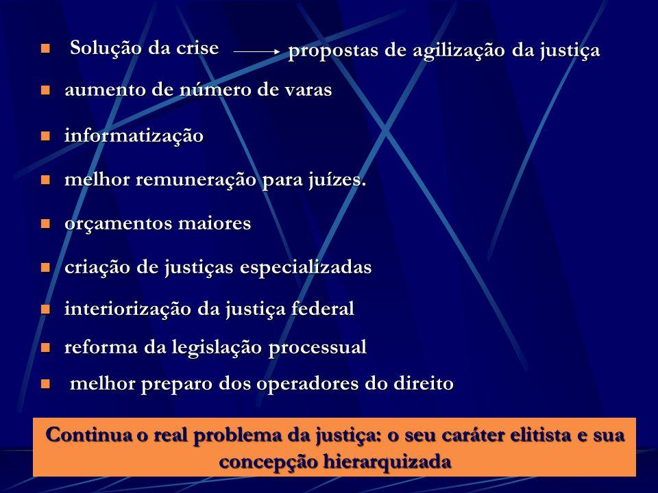 Solução da crise propostas de agilização da justiça. aumento de número de varas. informatização. melhor remuneração para juízes.