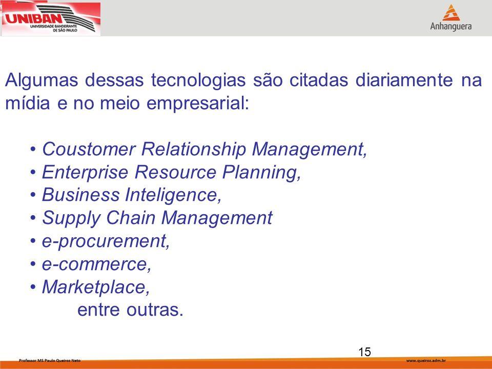 Algumas dessas tecnologias são citadas diariamente na mídia e no meio empresarial: