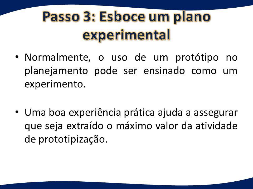 Passo 3: Esboce um plano experimental