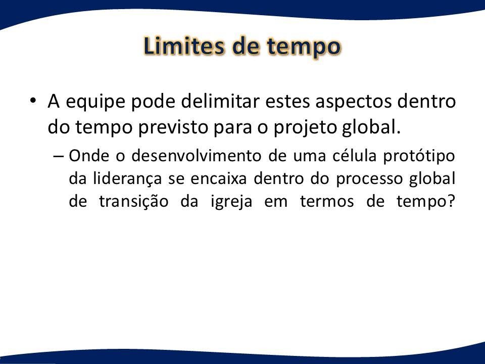 Limites de tempo A equipe pode delimitar estes aspectos dentro do tempo previsto para o projeto global.