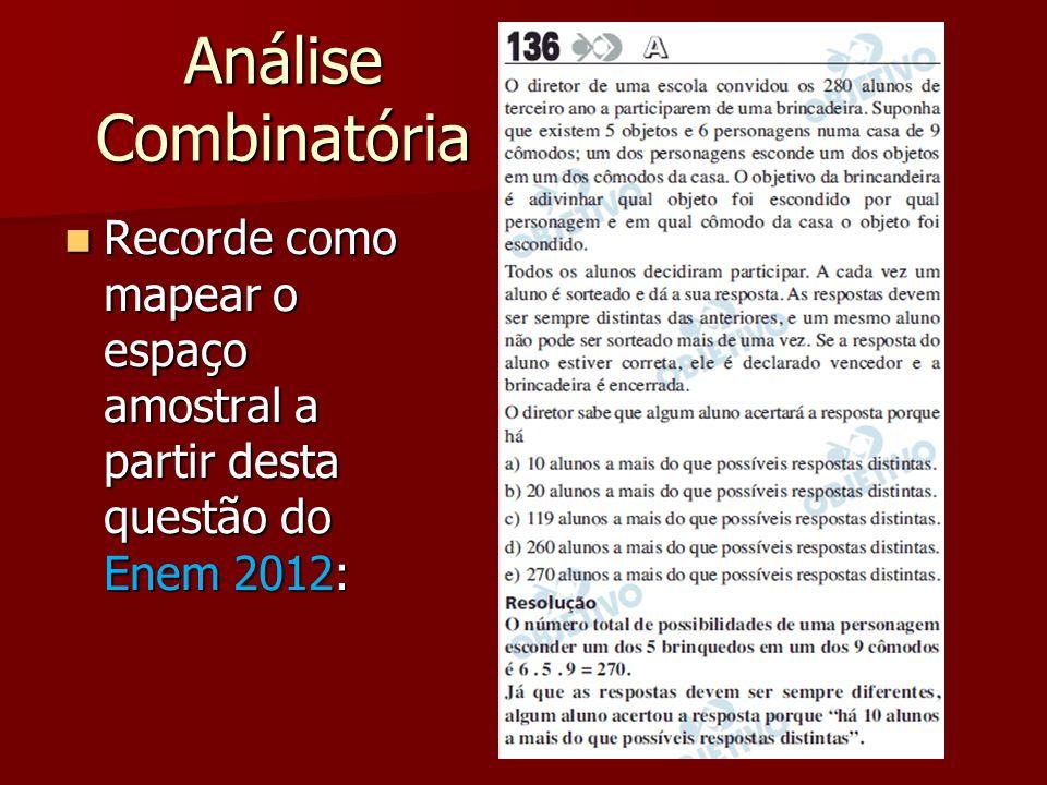 Análise Combinatória Recorde como mapear o espaço amostral a partir desta questão do Enem 2012: