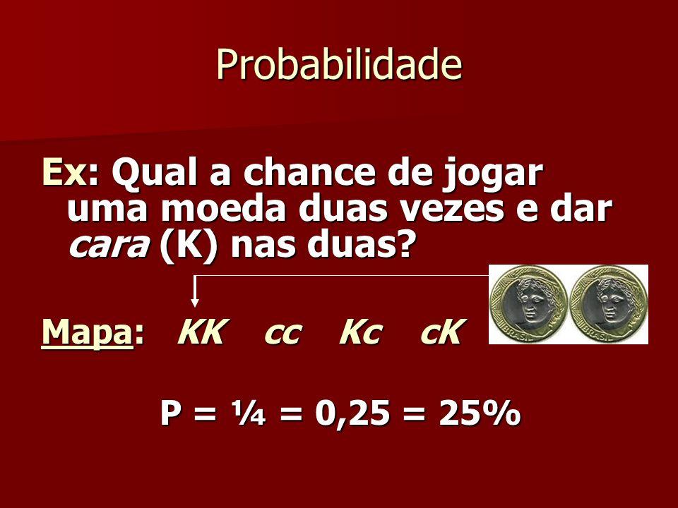Probabilidade Ex: Qual a chance de jogar uma moeda duas vezes e dar cara (K) nas duas Mapa: KK cc Kc cK.