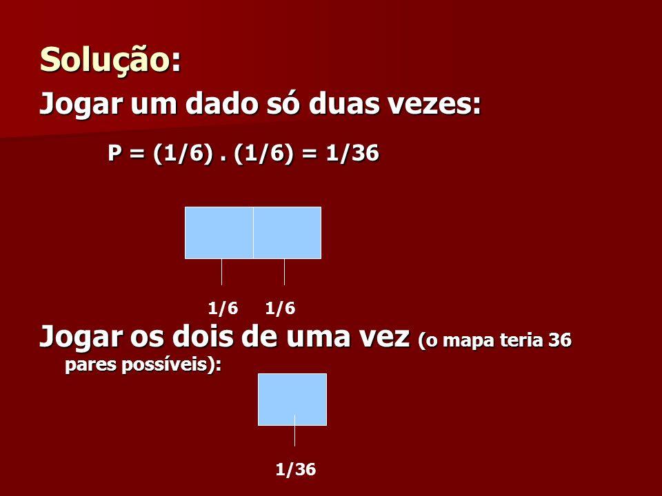 Solução: P = (1/6) . (1/6) = 1/36 Jogar um dado só duas vezes:
