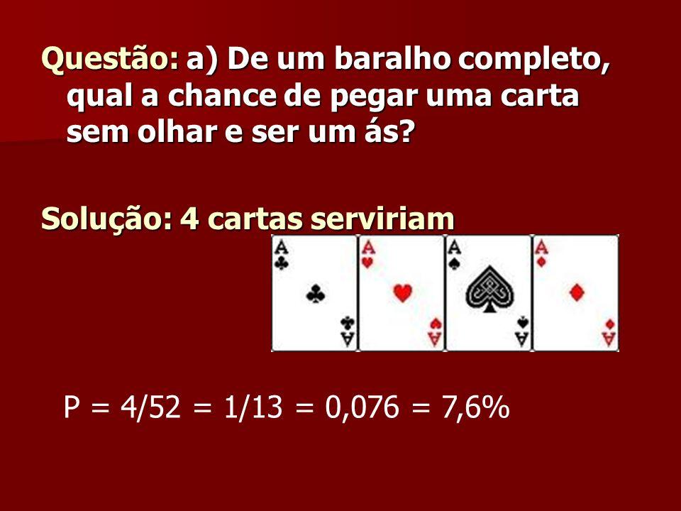 Questão: a) De um baralho completo, qual a chance de pegar uma carta sem olhar e ser um ás