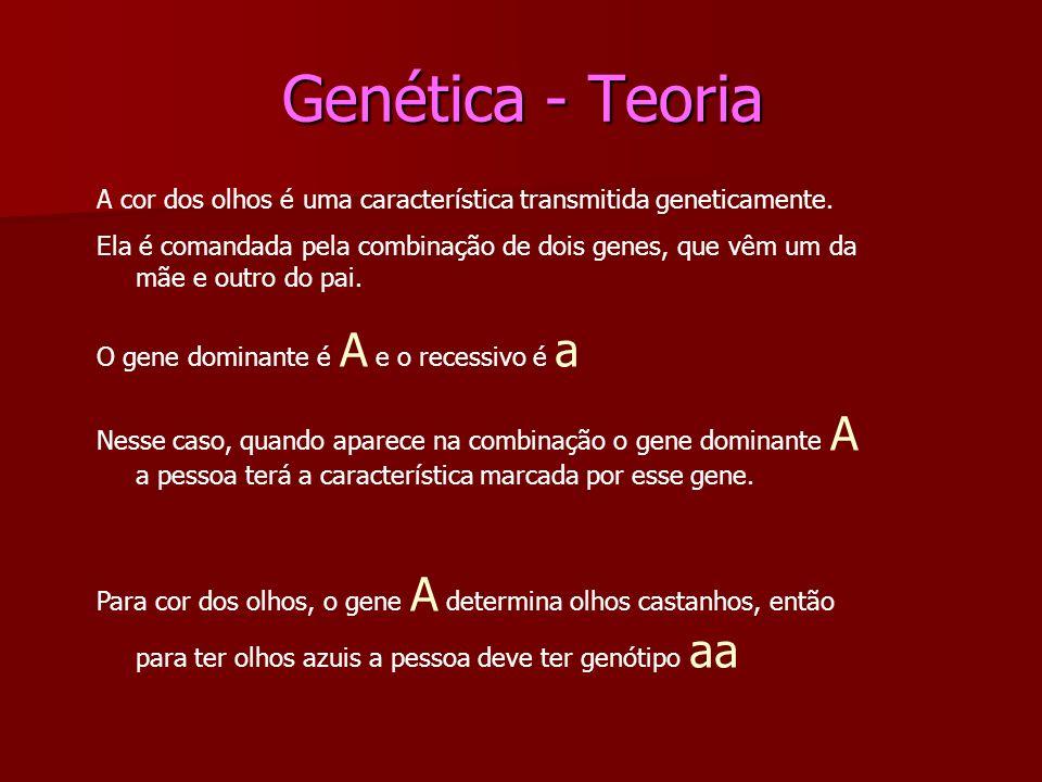 Genética - Teoria A cor dos olhos é uma característica transmitida geneticamente.