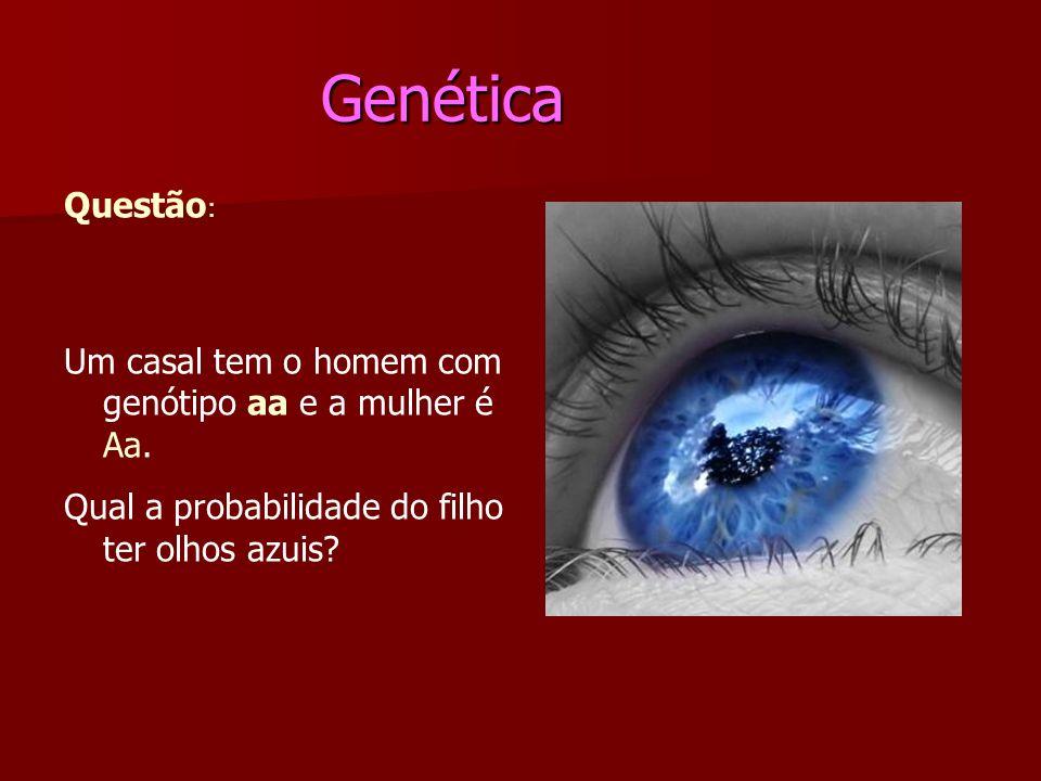Genética Questão: Um casal tem o homem com genótipo aa e a mulher é Aa.