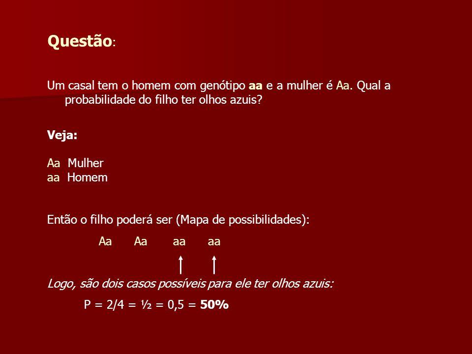 Questão: Um casal tem o homem com genótipo aa e a mulher é Aa. Qual a probabilidade do filho ter olhos azuis