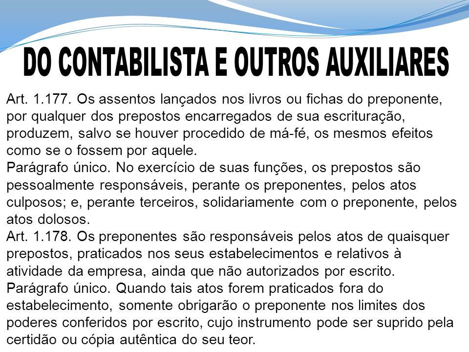 DO CONTABILISTA E OUTROS AUXILIARES