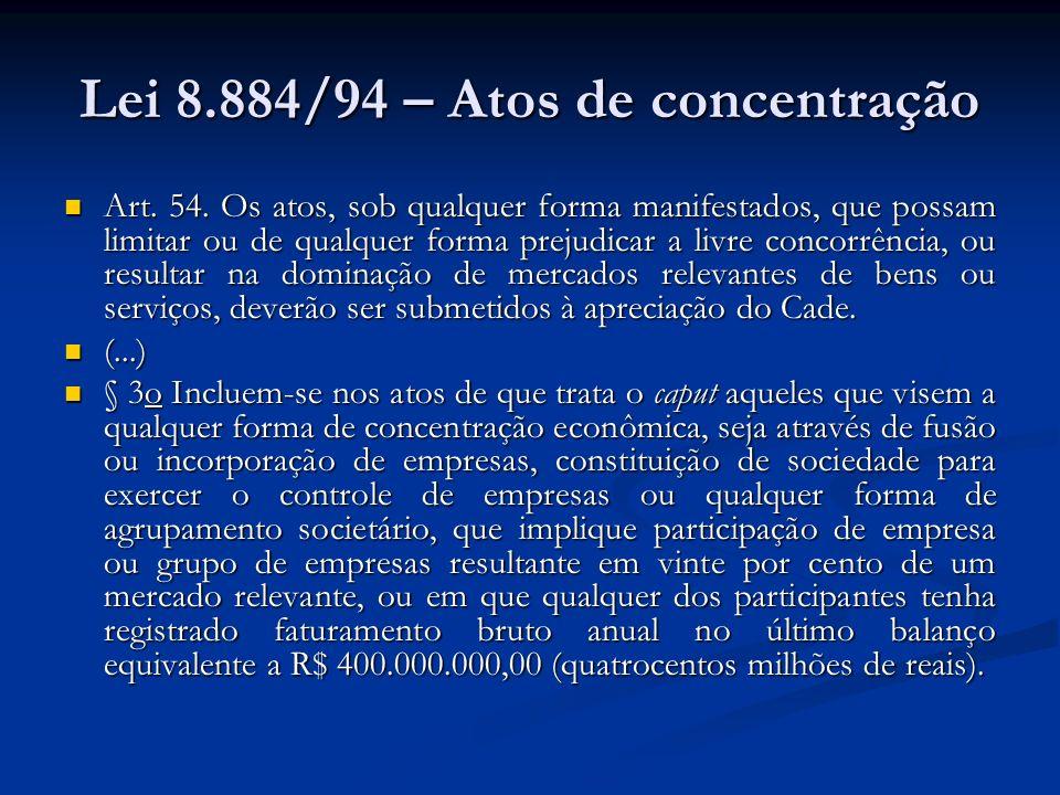Lei 8.884/94 – Atos de concentração