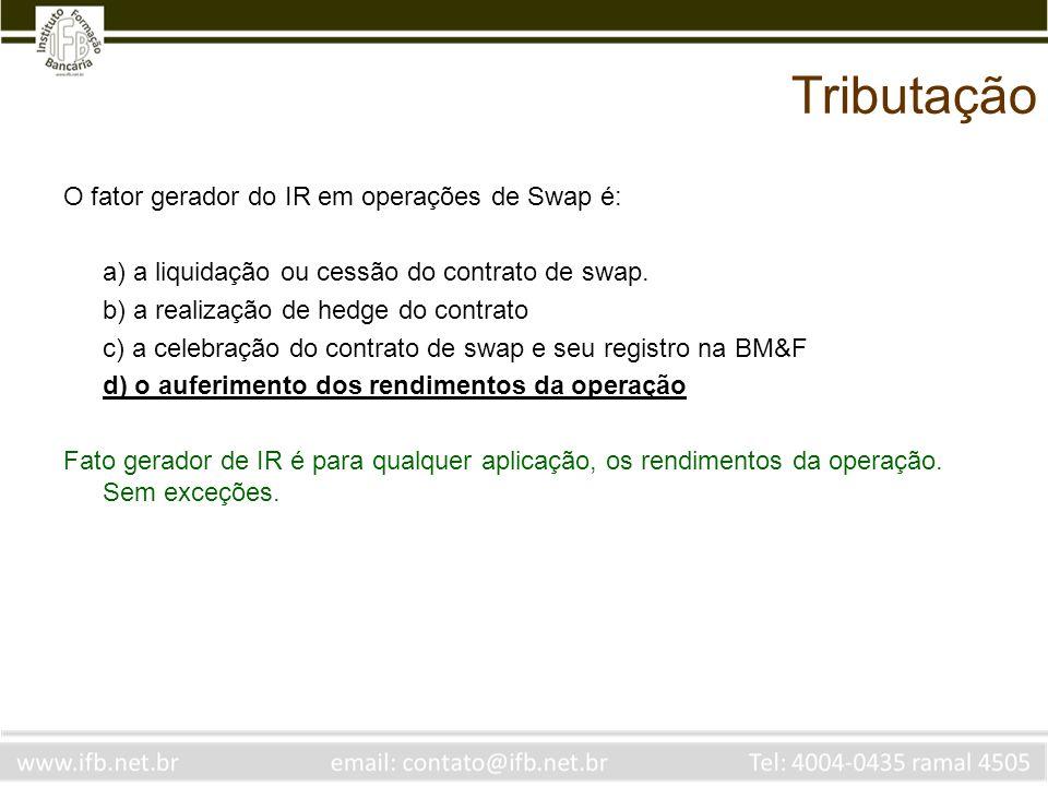 Tributação O fator gerador do IR em operações de Swap é: