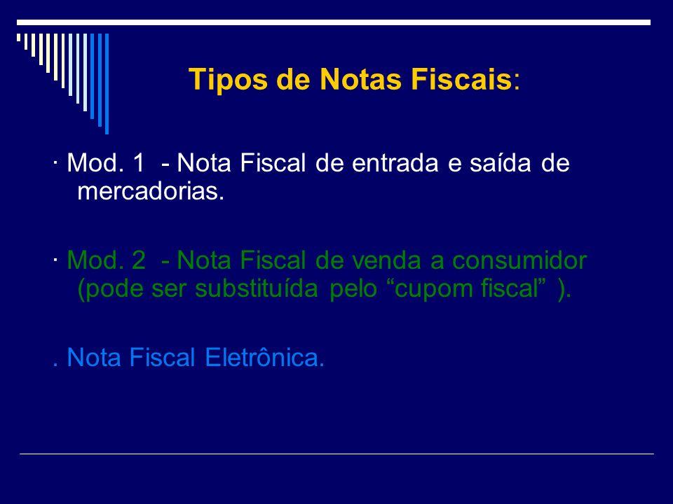 Tipos de Notas Fiscais: