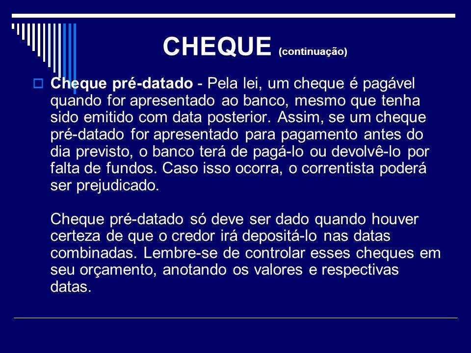 CHEQUE (continuação)