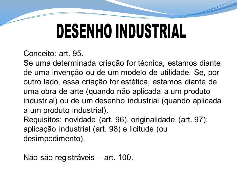 DESENHO INDUSTRIAL Conceito: art. 95.