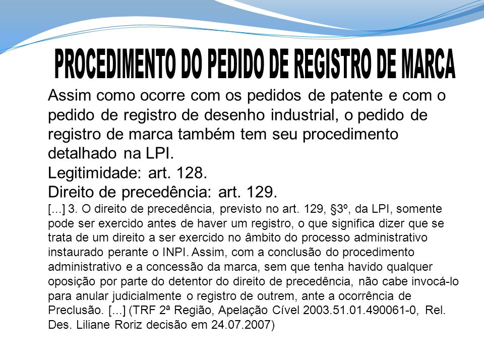 PROCEDIMENTO DO PEDIDO DE REGISTRO DE MARCA