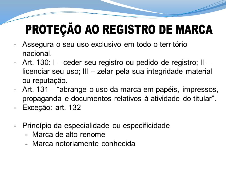 PROTEÇÃO AO REGISTRO DE MARCA