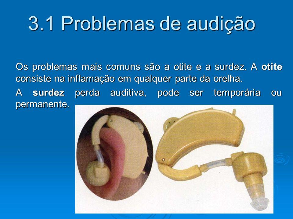 3.1 Problemas de audição Os problemas mais comuns são a otite e a surdez. A otite consiste na inflamação em qualquer parte da orelha.