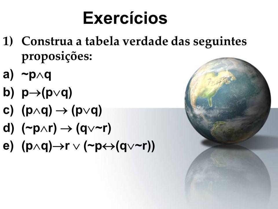 Exercícios Construa a tabela verdade das seguintes proposições: ~pq