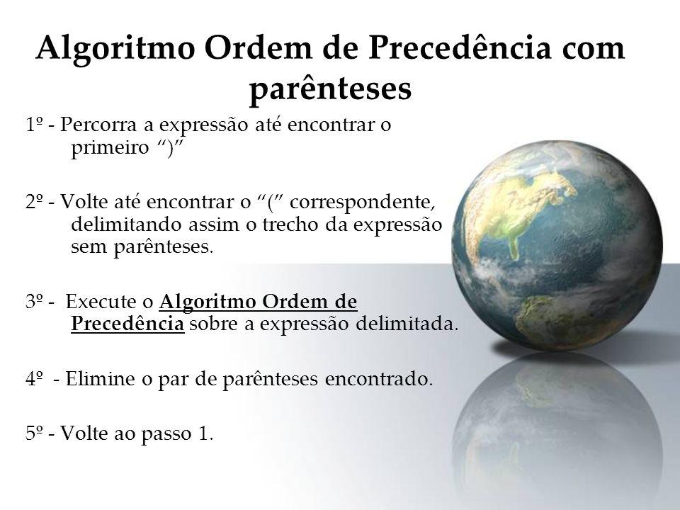Algoritmo Ordem de Precedência com parênteses