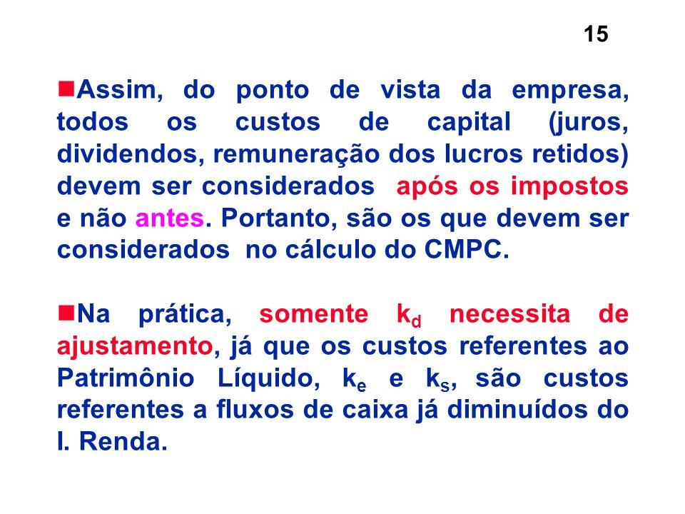 Assim, do ponto de vista da empresa, todos os custos de capital (juros, dividendos, remuneração dos lucros retidos) devem ser considerados após os impostos e não antes. Portanto, são os que devem ser considerados no cálculo do CMPC.