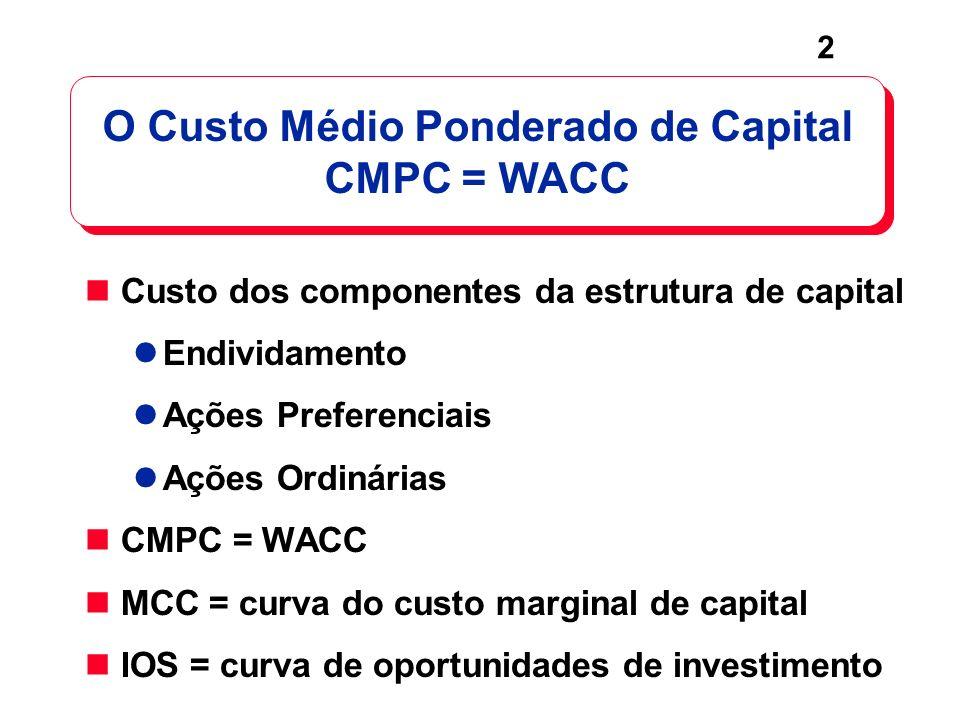 O Custo Médio Ponderado de Capital CMPC = WACC