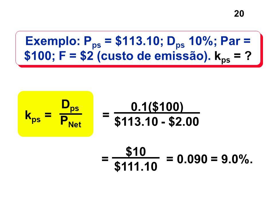 Exemplo: Pps = $113.10; Dps 10%; Par = $100; F = $2 (custo de emissão). kps =
