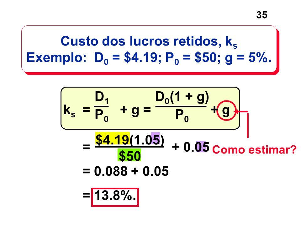 Custo dos lucros retidos, ks Exemplo: D0 = $4.19; P0 = $50; g = 5%.
