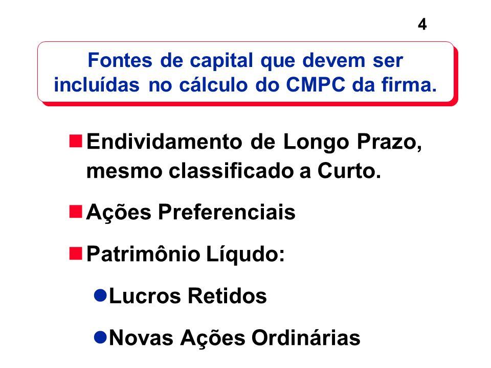 Fontes de capital que devem ser incluídas no cálculo do CMPC da firma.