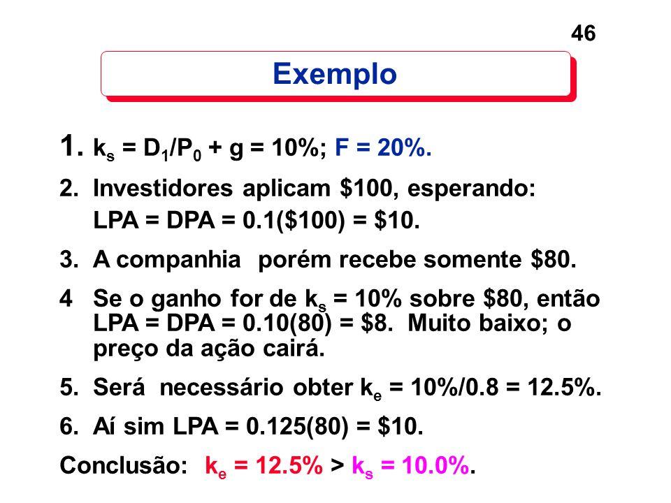 Exemplo 1. ks = D1/P0 + g = 10%; F = 20%.