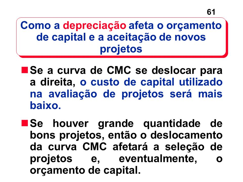 Como a depreciação afeta o orçamento de capital e a aceitação de novos projetos