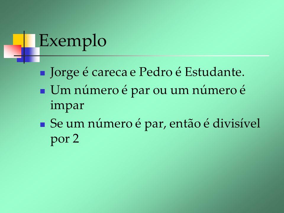Exemplo Jorge é careca e Pedro é Estudante.