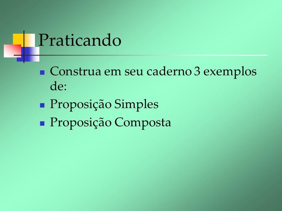 Praticando Construa em seu caderno 3 exemplos de: Proposição Simples