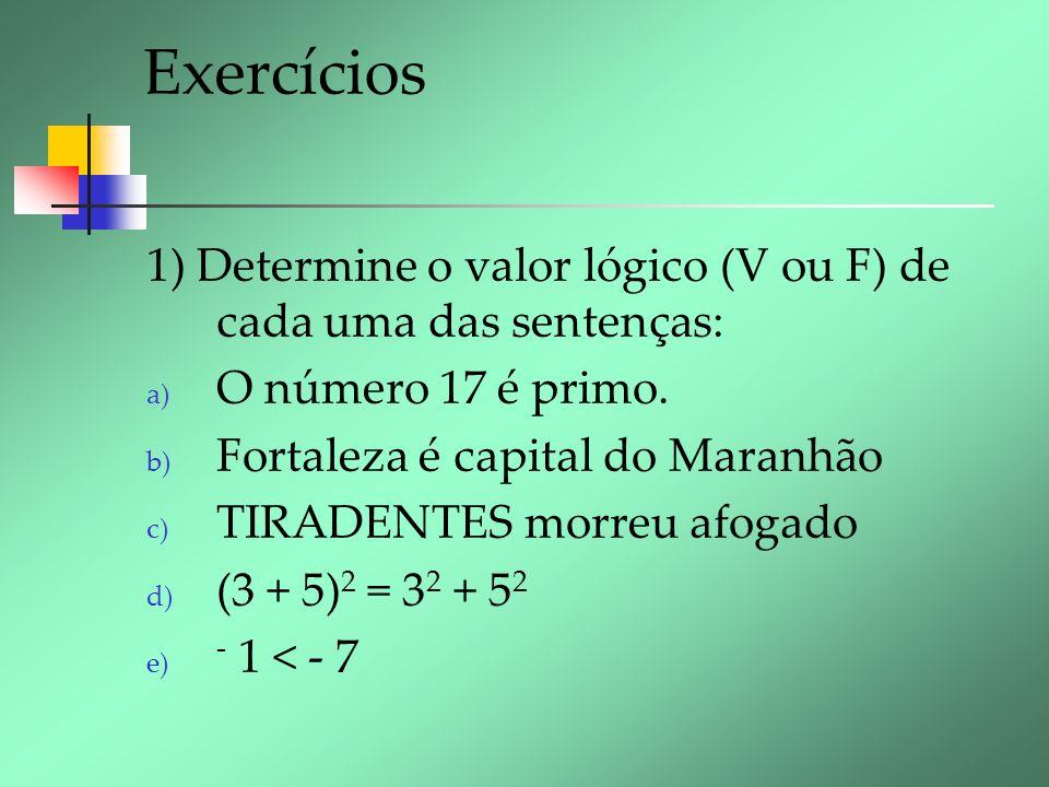 Exercícios 1) Determine o valor lógico (V ou F) de cada uma das sentenças: O número 17 é primo. Fortaleza é capital do Maranhão.