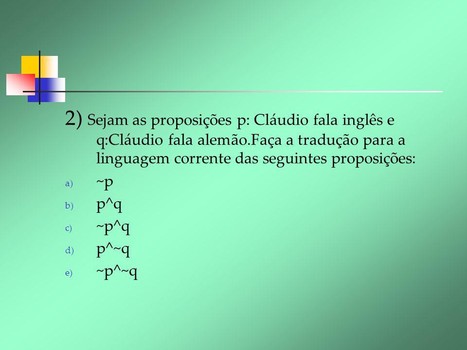 2) Sejam as proposições p: Cláudio fala inglês e q:Cláudio fala alemão