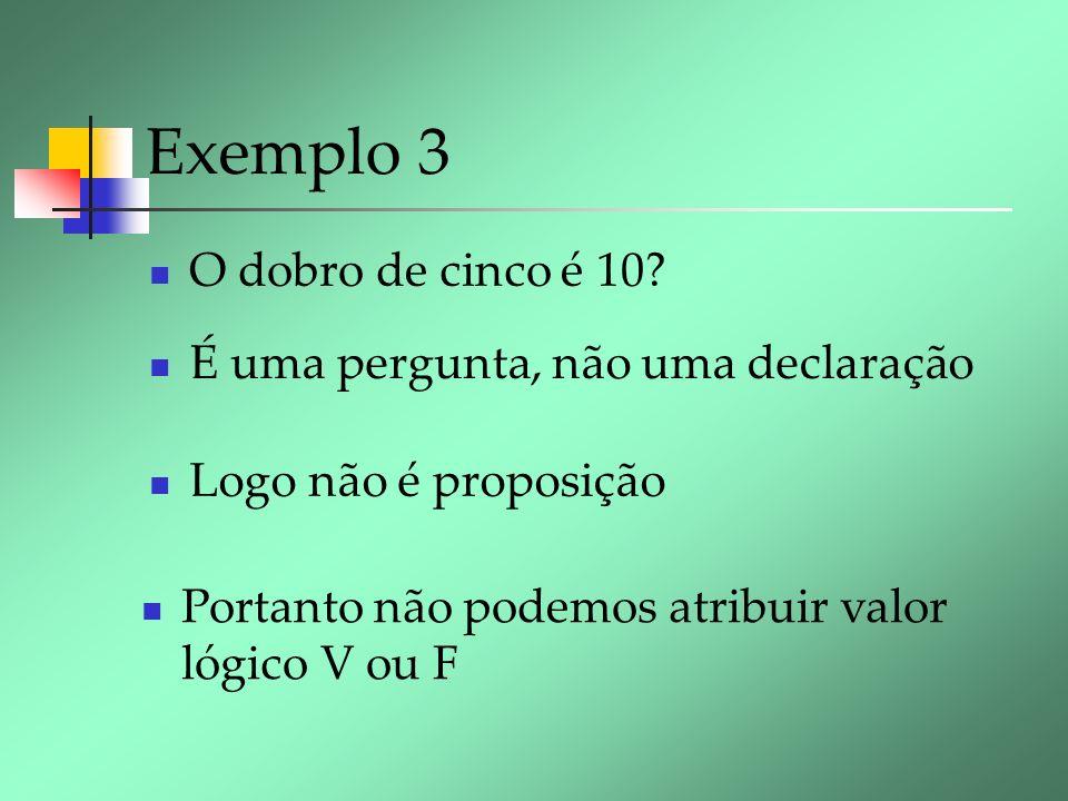 Exemplo 3 O dobro de cinco é 10 É uma pergunta, não uma declaração