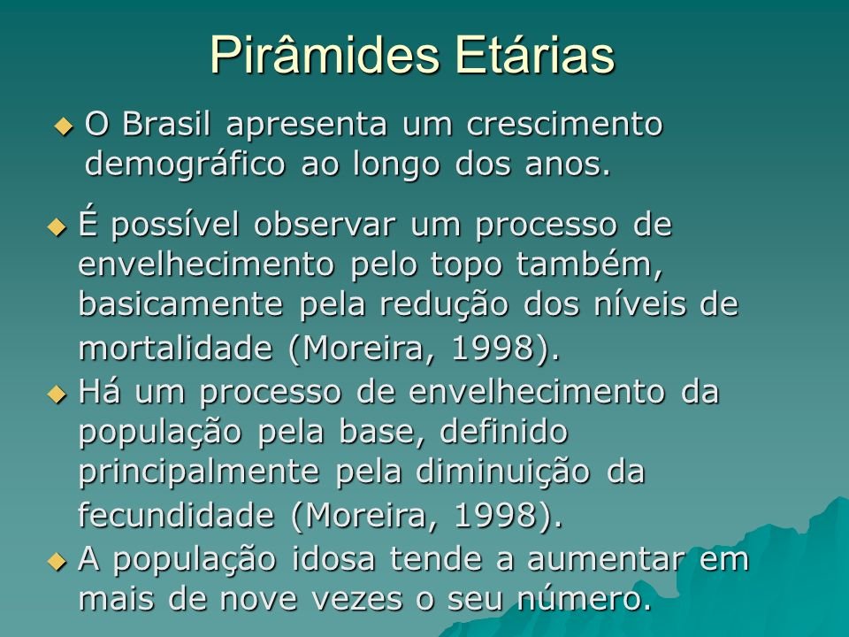 Pirâmides EtáriasO Brasil apresenta um crescimento demográfico ao longo dos anos.