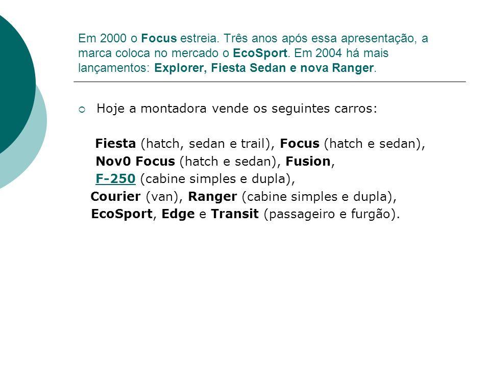Em 2000 o Focus estreia. Três anos após essa apresentação, a marca coloca no mercado o EcoSport. Em 2004 há mais lançamentos: Explorer, Fiesta Sedan e nova Ranger.