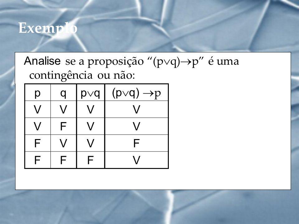 Exemplo Analise se a proposição (pq)p é uma contingência ou não: p